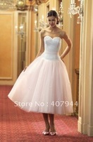New Style Beautifull White and Pink  Tulle Sweetheart neckline Tea Length Strapless Ball Gown Wedding Dresses Plus size
