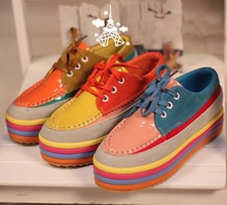Free Shipping,Womens Shoes,Candy Color Lace Up Platform Shoes,Size 35-39(China (Mainland))