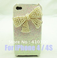 Bling White pearl Pearl short Bow case cover Skin for iPhone 4 4S Case A87 free shipping