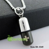 Free shipping +Wholesale Stainless Steel Silver&Black Pill Cross Chain Pendant Necklace Cool New Gift Item ID:3345