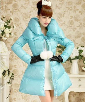 Sky-blue double-layer collar tied ribbon on the waist to put on a large sweet ladies temperament long down women's winter jacket