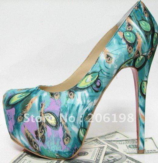 Limited edition Green Peacock Pumps high heel shoes high heels wedding