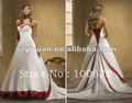 2012 latest white and red bead crystal bridal wedding dress