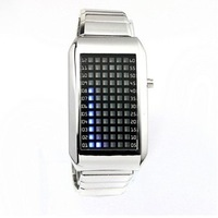 Wholesale-New Men s Stainless Steel Wrist watch 72-LED Blue Light