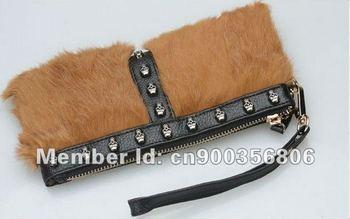 Wholesales Genuine Rabbit Fur clutch bag,evening bag,make up bag