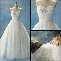 Свадебное платье Empire One-Shoulder Court Train Sleeveless Beading Lace Organza Wedding Dress /bridal dress Custom Made