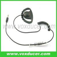 With zig zag cord D shape earbud ear hook listen only earpiece for two way radio