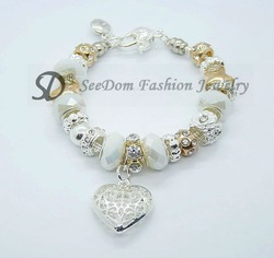 PROMOTION 925 Silver White Crystal Beads Love Heart CZ Stone PAN Bracelet Free Shipping + Pink Gift Pouch PB005(China (Mainland))