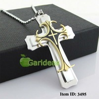 Free shipping +Wholesale Men's Silver&Gold Stainless Steel Cross Chain Pendant Necklace Cool New Gift Item ID:3495