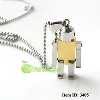 Free shipping +Wholesale Men's Stainless Steel Silver&Gold Robot Chain Pendant Necklace Cool New Gift Item ID:3405