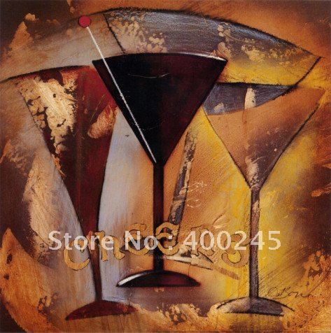 Abstract oil painting,Time for Cocktails II by Susan Osborne,100% handmade oil painting,Museum quality,free shipping(China (Mainland))