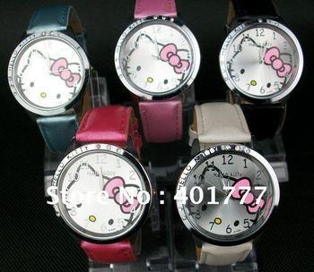 Free shipping 25pcs/box High Quality Hello kitty Fashion Cute Lovely Girl woman lady Wrist Watches Children watch ver regarder