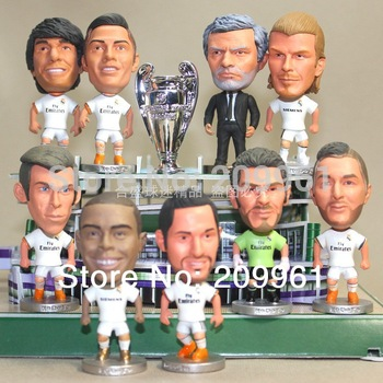 wholesale free shipping Real Madrid football soccer player star collection doll cartoon toys 6 Pieces/set Ronaldo kaka Benzema