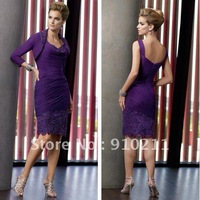 2012 Newest Designing Sheath Dipped Neckline Lace/Beaded Chiffon Purple Mother of the Bride Dresses