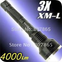 4000 Lumens 3x CREE XM-L XML T6 LED Flashlight Torch 3T6 Free Shipping