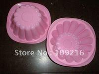 Green Good Quality 100% Food Grade Silicone Cake Mold/Muffin Cupcake Pan Big Chrysanthemum Pot Mold