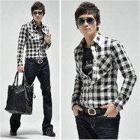 Мужская повседневная рубашка New Sale Men's Brand Shirt Solid Color Casual and Slim