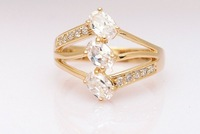 Gorgeous 9k Solid Yellow Gold White Sapphire Ring SZ7.5 P179, Gold Ring,Free Shipping,