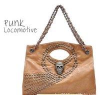 Freeshipping !wholesales Punk skull rivet chain trend of female bag / portable shoulder bag / Messenger bag 1070g