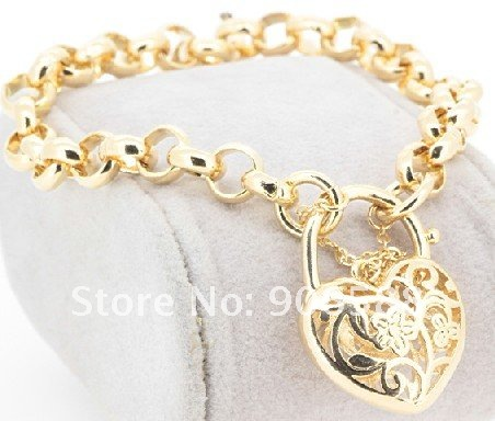 18ct yellow gold GF rings belcher chain womens solid charm bracelet bangle B127C(China (Mainland))