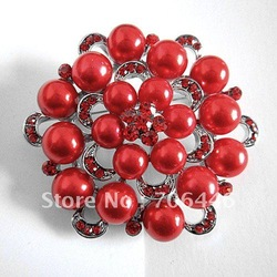 Silver Zinc Alloy Flower Brooch with Red Cream Faux Pearl(China (Mainland))