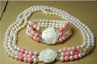 Hot Fashion Jewellery set  Beautiful 3 rows white pearl pink coral shell necklace bracelet free shipping