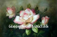 Art handmade oil painting picture of flowers on canvas