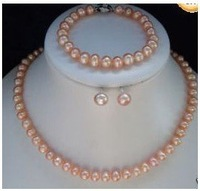 Hot Fashion Jewellery set  Beautiful 7-8mm pink pearl necklace bracelet Sets  free shipping