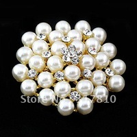 18 K Gold Plated Rhinestone Crystal and Ivory/Cream Pearl Brooch Party