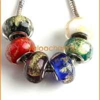 Wholesale - 60x Mixed Lampwork Glass Charms Beads Fit Bracelets Necklace DIY Jewelry Accessories 151333