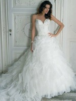 Free Shipping Hot-sale Custom-made Tulle Beading Tiered V-neck A-Line LL-016 Wedding Dress