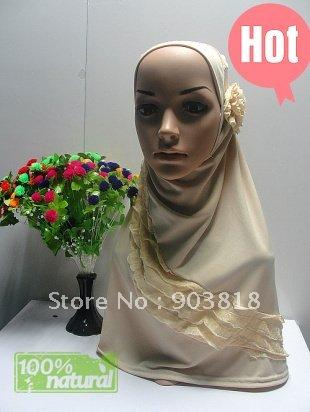 122102 crepe islamic higabs with hand-made flower applique,muslim scarf,islamic scarf,hijab,Arabia scarves(China (Mainland))