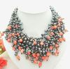 Great! 4Strands Black Pearl&amp;Pink Coral Necklace