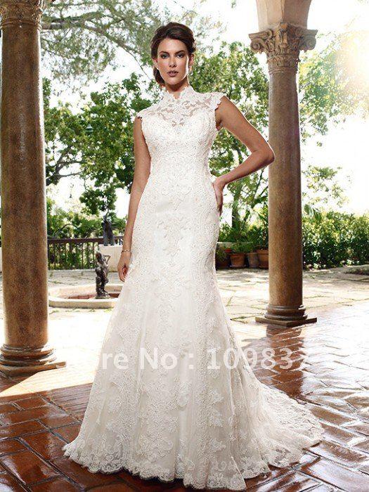 Collar Mermaid Lace Wedding Dresses 2012 Vintage Bridal Dresses W09