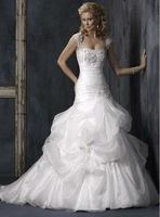 Free Shipping Hot-sale Custom-made Organza Appliques Pleat Tiered Sweetheart LL-043 A-Line  Wedding Dress