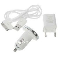 Mini 3-in-1 Chargers Set with USB Cable  and Charger Cable and car charger for i  phone 3g 3gs 4g)
