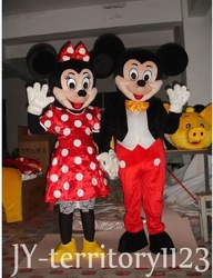 Brand both Mickey and Minnie Mouse Adult Mascot Costume Suit via EMS free shipping(China (Mainland))