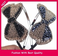 freeshipping wholesale fashion crystal beads handmade WOMEN'S headband beads bow design hairband JA413 12pc/lot