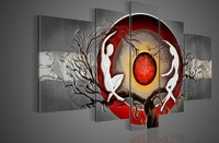 hand-painted  wall art silver big tree red sun dance wall decoration abstract  Landscape oil painting on canvas 5pcs/set framed