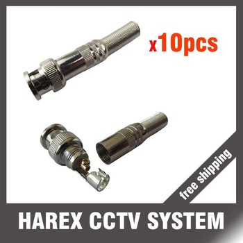 10 pcs CCTV RG-59 BNC Male Connector to Coaxial Cable  . Free shipping