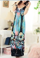2012 New style Bohemian Women  sleeveless  sexy dress, blue/red  long dress--406-8128