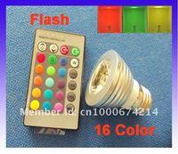 LED 3W RGB spotlight E27 Wireless Remote Control RGB Flash LED Spot Light BULB LAMP High Power LED