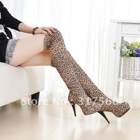 New Brown Sexy  Women/Girl  Leopard Grain High Heel Boots Fashion Platforms shoes US size 4-8.5  Aje-555