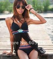 HOT SEXY !Cross Front Sheer Bohemian  Bikini Set Bathing Suit Swimsuit