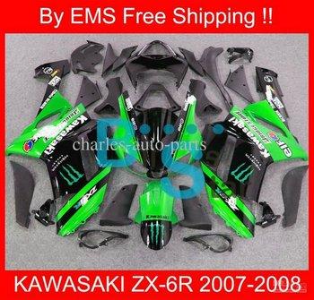 1654 Free Shipp fairing for KAWASAKI ZX-6R 07 08 ZX6R 2007-2008 ZX 6R 07 08 2007 2008 Green Black