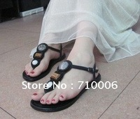 Spring of 2012 Bohemia Sheepskin clip toe flat shoes Beaded ethnic style sandals Free Shipping