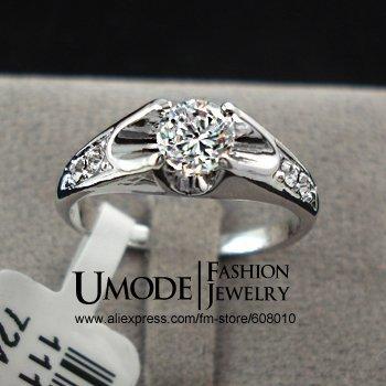 Fashion White Gold Plated Mounting 0.5 ct CZ Diamond Wedding Jewelry Rings (Umode ...
