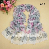 Vivid Flowers Butterfly Sexy Chain Leopard Long Scarves Spring Summer 2013 Wholesale Women Silk Feeling Scarf Mix 12 Models
