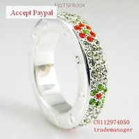 wholesale  and dropshiping  925 sterling silver ring with flower in colorful CZ