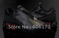 2011 newest bounce running shoes genuine leather black-RED top quality nice men's sports shoes